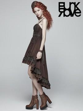 Steampunk Adjustable Hi/Lo Pleated Dress - Coffee
