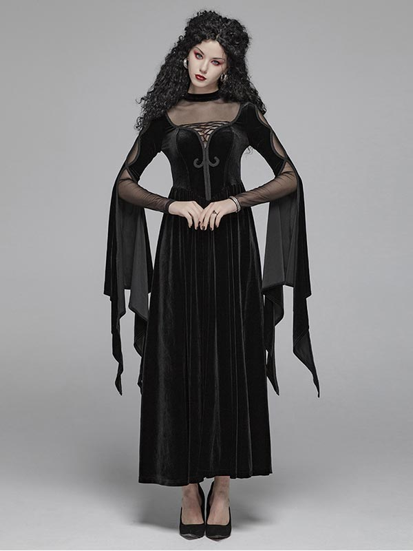 Gothic Witch Double Layer Sleeve Dress