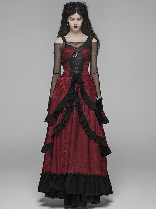 Steampunk Adjustable Leather Black & Red Long Dress