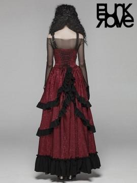 Steampunk Adjustable Leather Black & Red Long Dress