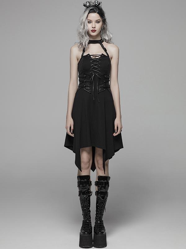 Dark Punk Spiked Collar Short Dress