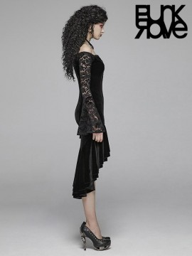 Gothic Velvet Lace High/Low Dress
