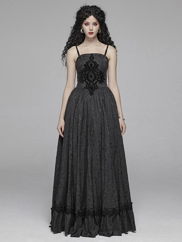 Gothic Two Wear Jacquard Long Dress