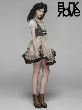 Steampunk Lolita Harness Dress - White & Coffee
