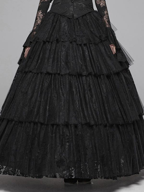 Gothic Tiered Lace Long Skirt