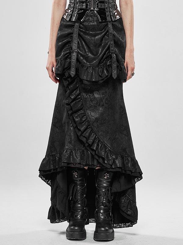 Steampunk Nobel Fishtail Skirt - Black