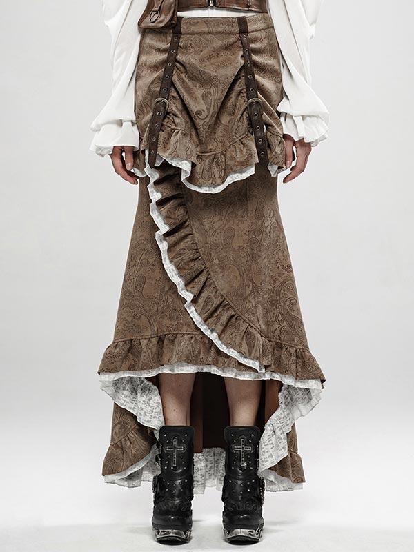 Steampunk Nobel Fishtail Skirt - Coffee