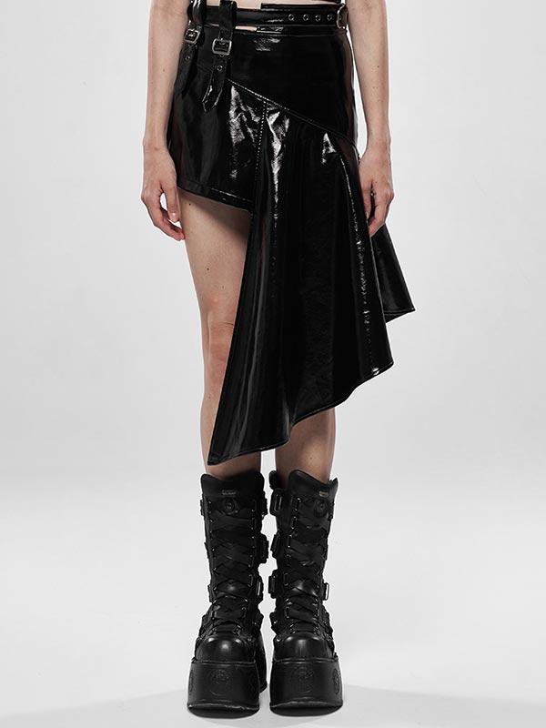 Punk Rock Irregular Leather Skirt