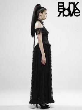 Gothic Off The Shoulder Gorgeous Lace Dress - Black