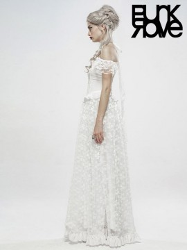 Gothic Off The Shoulder Gorgeous Lace Dress - White
