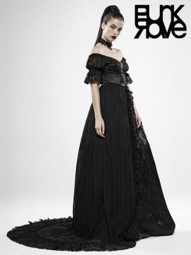Black Feather Off-The-Shoulder Dress