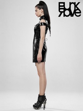 Punk Flaming Black Leather Dress