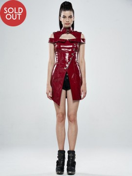 Punk Flaming Red Leather Dress