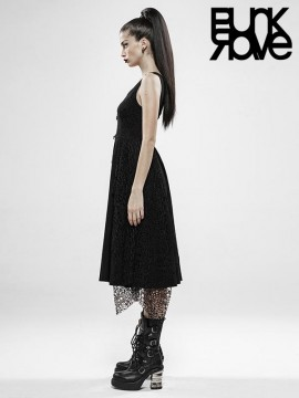 Punk Rebellious Girl Dress - Black Plaid