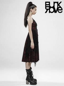 Punk Rebellious Girl Dress - Red Plaid