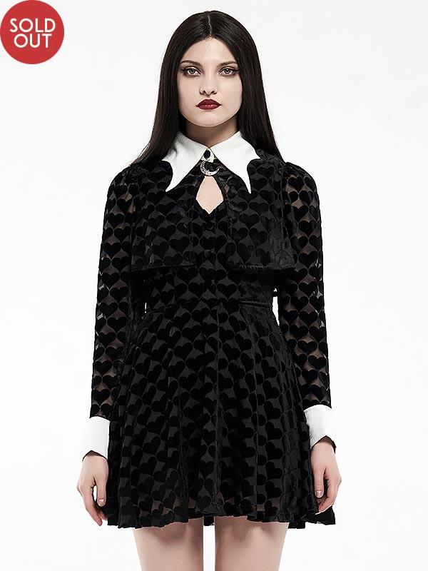 Gothic White Bat Wing Little Black Peach-Heart Dress