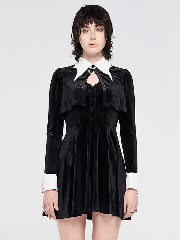 Gothic White Bat Wing Little Black Dress