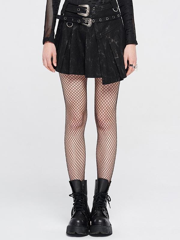 Punk Boxed Pleat Skirt - Black