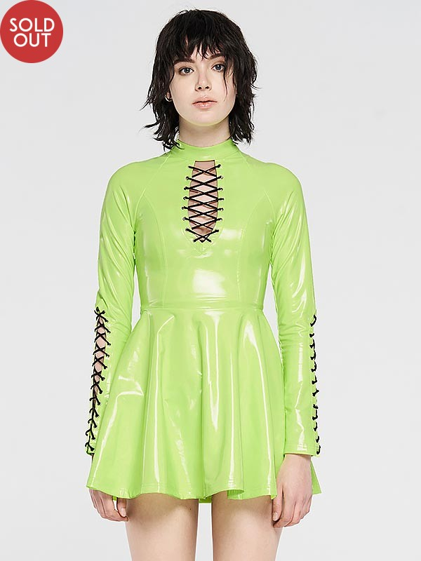 Punk Glitzy Short Dress - Neon Green