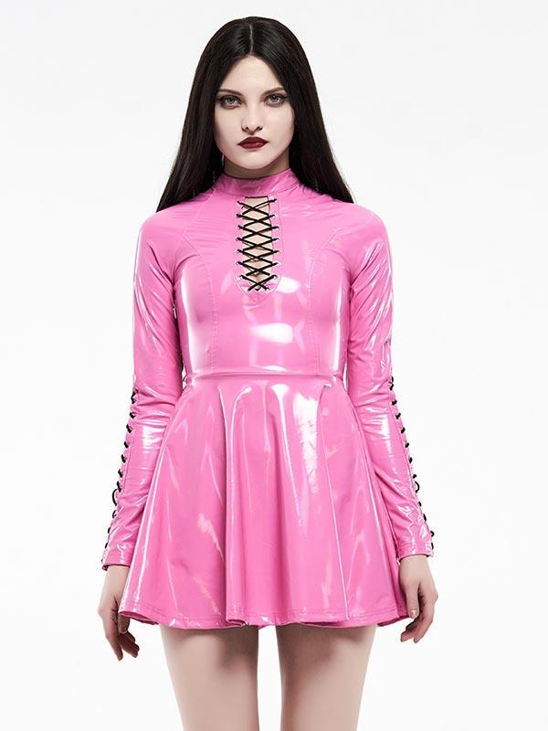 Punk Glitzy Short Dress - Neon Pink