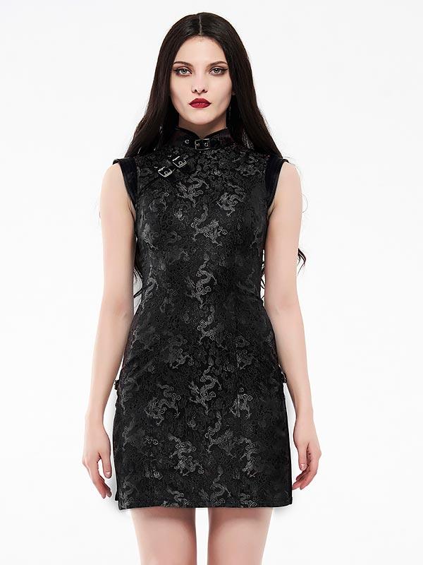 Cheongsam Style Cyber Dress - Black