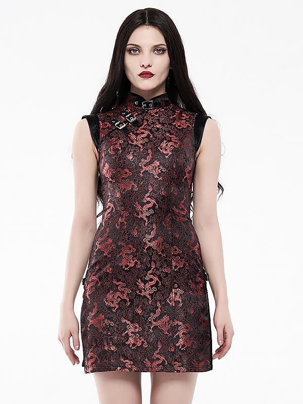 Cheongsam Style Cyber Dress - Black & Red