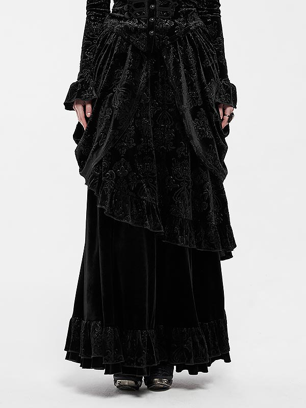 Gorgeous Gothic Victorian Court Long Skirt - Black