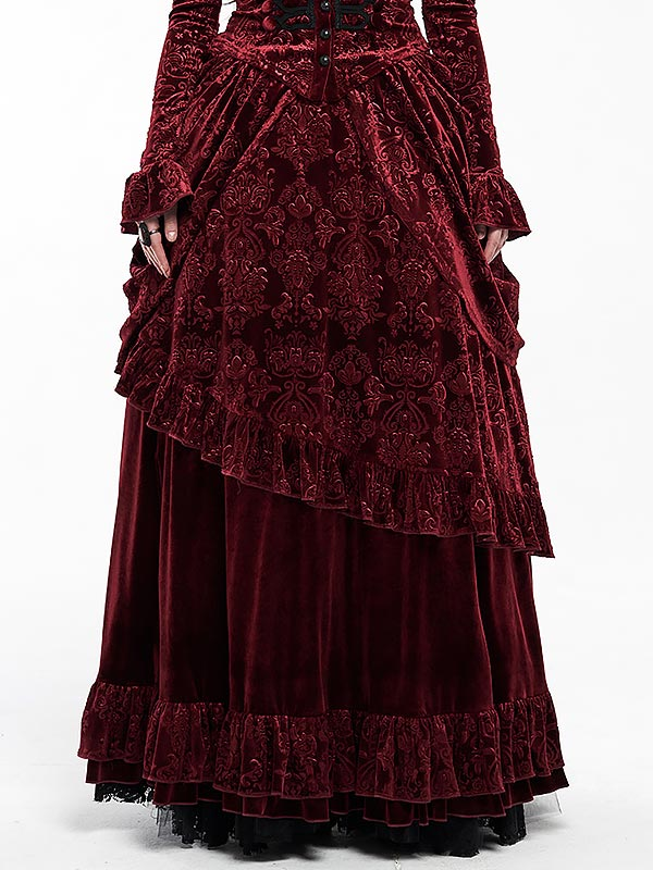 Gorgeous Gothic Victorian Court Long Skirt - Red