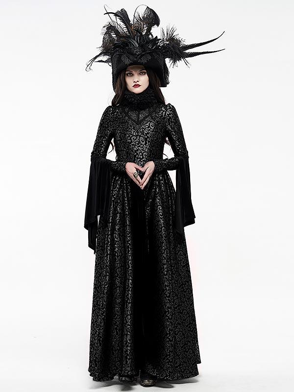 Gorgeous Gothic Elizabethan Style Court Dress - Black