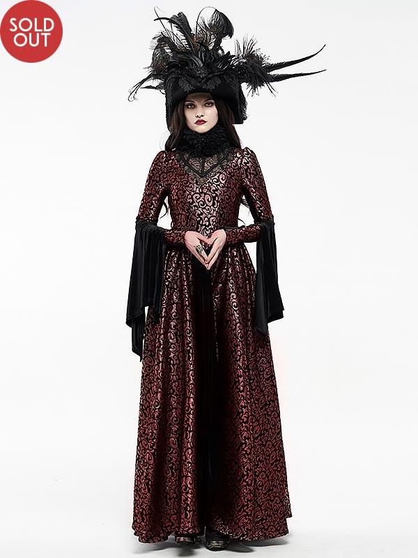 Gorgeous Gothic Elizabethan Style Court Dress - Black & Red