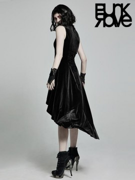 Gothic Retro Sleeveless Dress - Black