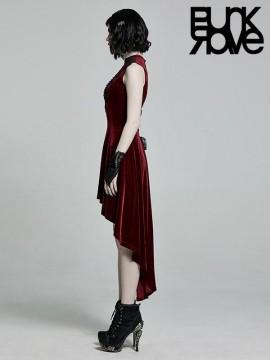 Gothic Retro Sleeveless Dress - Red