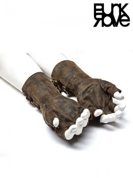 Mens Steampunk Leather Gloves - Coffee