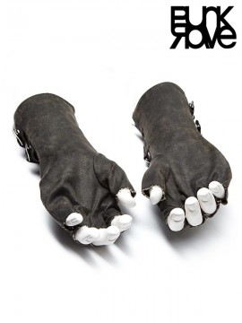 Mens Steampunk Leather Gloves - Grey