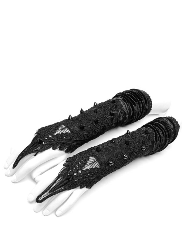 Gothic Lace & Rivets Long Gloves