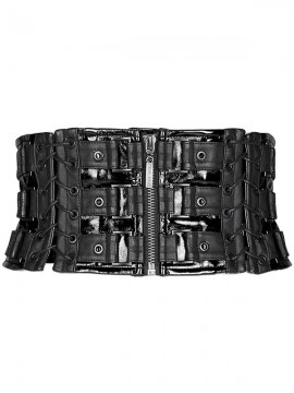 Love and Imprisonment Heavy Metal Leather Waistband Corset - Black