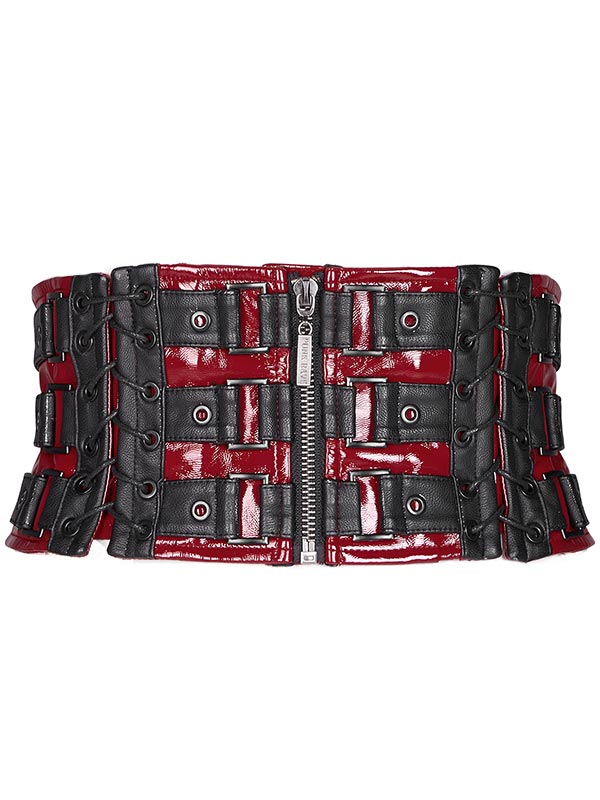 Love and Imprisonment Heavy Metal Leather Waistband Corset - Red & Black