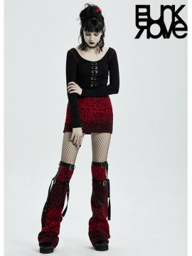 'Punk Girls' Over-The-Knee Leopard Print Leg Covers - Red