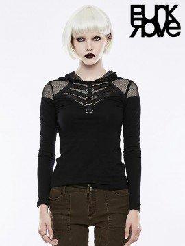 Punk Mesh Long Sleeve Hooded T-Shirt