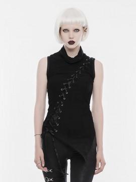 Punk Lace Up Sleeveless T-Shirt