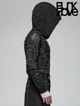 Mens Punk Dark Warrior Distressed Hoodie Top