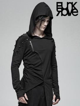 Mens Punk Asymmetrical Hoodie Top