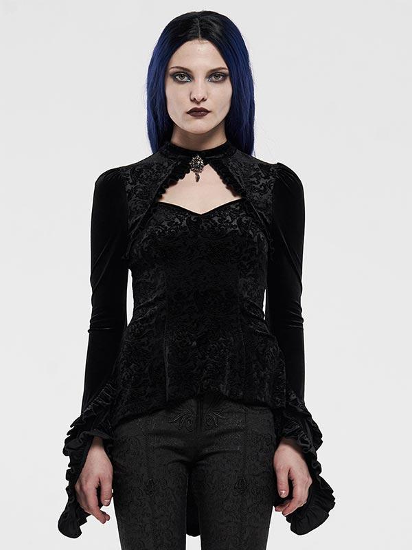 Gothic Velvet Shadow Flower Top
