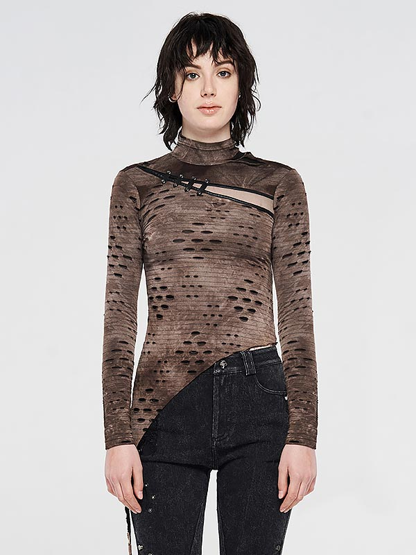 Steampunk Distressed Top - Coffee