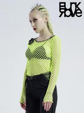 Punk Perspective Mesh Top - Fluro Green