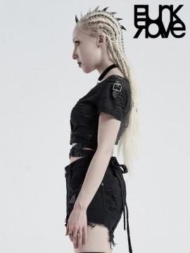 Punk Wrap-Around Tie-Dye Bandage Top - Black