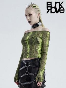 Punk Off-The-Shoulder Cobweb Serpent  Top - Green
