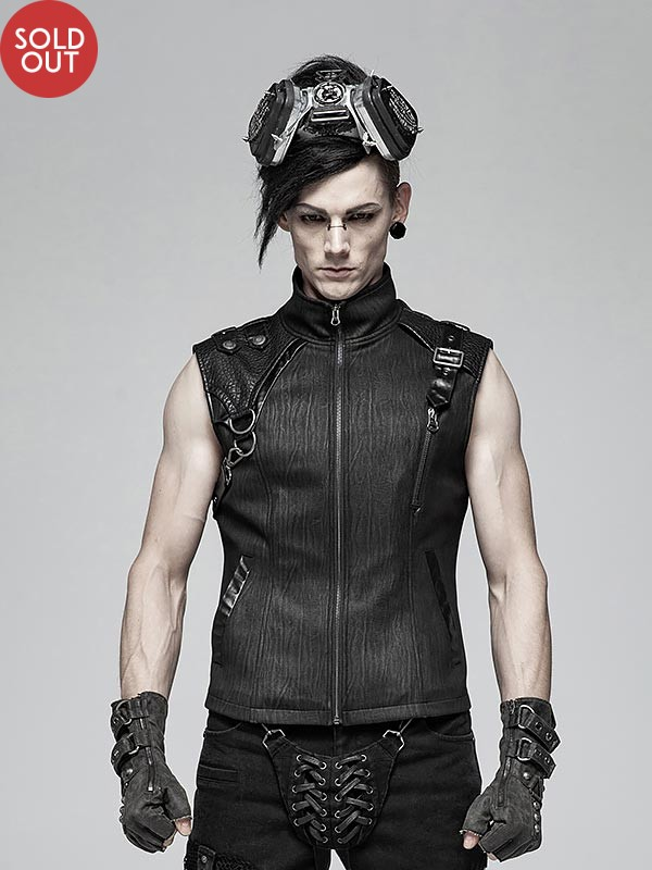 Mens Punk Heavy Metal Sleeveless Vest