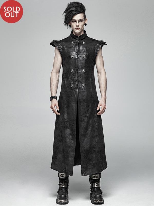 Mens Punk Warrior Armor Long Vest
