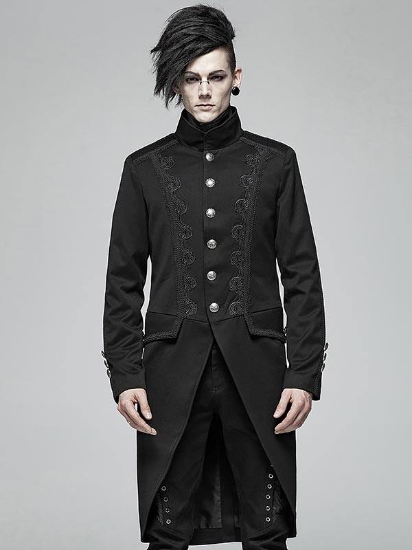 Mens Gothic Military Style Mid-Length Coat